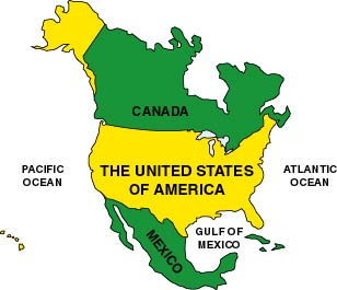 The United States Of America - Us canada mexico map